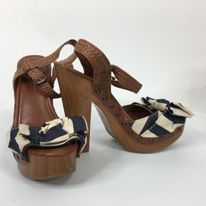 Jessica Simpson Size 8.5B Brown  Open Toe Platform